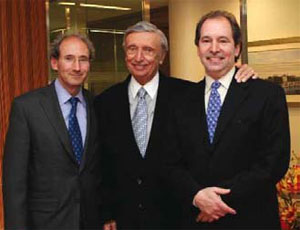 MKDA, a New York-based corporate space planning and interior design firm recently celebrated its 50th anniversary. Pictured from left: Michael Kleinberg, who joined the firm in the mid-1970s, Milo Kleinberg, founder of MKDA and Jeffrey Kleinberg, who along with Michael is the son of Milo Kleinberg and who also joined the firm in the mid-1970s. Photo courtesy of MKDA.