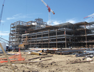 Work is under way at the Brooke Army Medical Center, where a seven-story addition recently topped out.