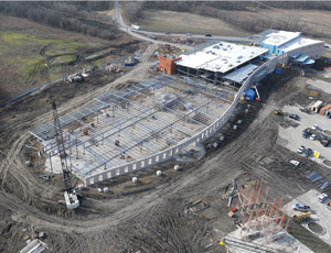 An aerial view shows the city of Wylie Municipal Complex under construction.