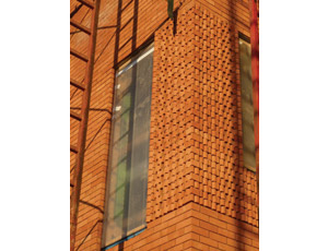 A window detail shows one of the project's many sustainable features.