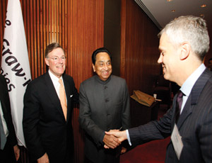 From left: McGraw-Hill CEO, Terry McGraw; Indian Minister, Kamal Nath; McGraw-Hill Construction President, Keith Fox.
