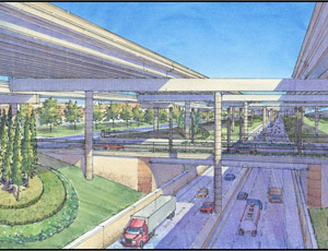 A rendering of the public-private LBJ Express project in Dallas that will begin construction early next year.