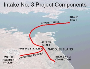 Water breached a 600-ft underground cavern during construction of Lake Mead's third straw, damaging equipment and potentially delaying construction.