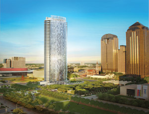 A rendering shows the 42-story, $200 million Museum Tower in Dallas' Downtown Arts District that Austin Commercial will build.