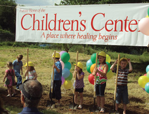 Future construction professionals break ground on the Clackamas County Children's Center in Oregon City, Ore.