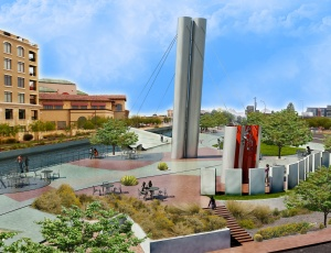 Rendering of the bridge and the south bank�s plaza.