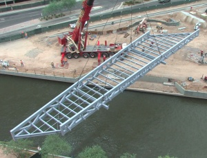 Bridge structure placement took place on June 26.