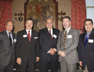 The High Rise Symposium, a special educational conference explaining the economic advantages of cast-in-place reinforced concrete for building New York City�s iconic skyscrapers recently took place at the New York Athletic Club. Building engineers who attended earned 2.5 Professional Development Hours toward their continuing educational requirements in New York State. Pictured from left: Michael Russillo, President of the HP CIPC; Carmine Attanasio, Executive Director of the NYC Promotional Council; Ed DePaola, President & CEO of Severud Associated Consulting Engineers; Borys Hayda, Managaing Principal of DeSimone Consulting Engineers; and Mike Mota, Atlantic Regional Manager of the Concrete Reinforcing Steel Institute. (Photo courtesy of Herbet Margrill & Associates, Inc.)