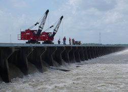 Starkel oversees initial spillway bay opening.
