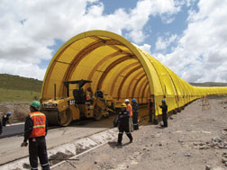 A 1,640-ft-long tent shelters worksite from weather.