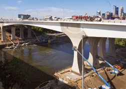 The Piers supporting each box girder ensures redundancy of new I-35W bridge.