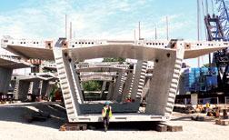 High-performance concrete segments comprise the I-35W bridge's four box girders.