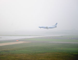 The first plane lands on the extended Runway 10L/28R, the first major completion of the O'Hare Modernization Program.
