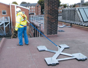Fall protection: Modular Weight System Allows For Easy Relocation