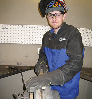 Military veteran Alex Durko learns welding skills in union pre-apprentice program that aims to fill projected workforce needs.