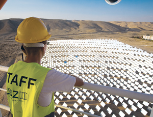 Flat mirrors mean lower cost for BrightSource's solar plant, piloted in Israel's Negev Desert.