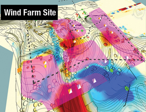 Mortenson uses VDC to layer environmental data, old-stump locations and grading plans for wind farm-site optimization.