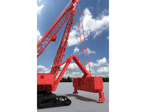 "the flexible Counterweight hangs off the back of the crane, actuated by a telescoping rack- and-pinion ""stinger"" that guides two folding arms."