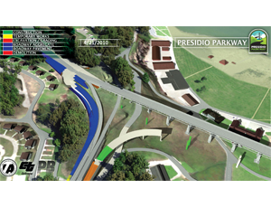 One project pushes a detailed 4-D constructibility and analysis model of the Presidio Parkway reconstruction in San Francisco to produce reports as time-sequenced animations.