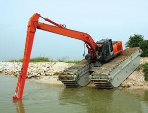 Amphibious excavator treads: Handles Soft Soils