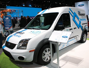Ford's all-electric work van in Chicago. It promises a top speed of 75 mph and 80-mi range in part due to its li-ion battery pack.