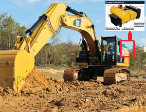 Cat's Clean Emissions Module—the Tier 4 excavator at left uses one—will fit on new and existing engines. The particulate filter can regenerate, or burn soot, without idling the machine.