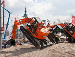 Vendors used various gimmicks to catch the crowd's attention at this year's Bauma.