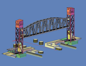 Old bascule bridge was subjected to repeated barge collisions.