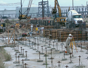 Concrete forms being built for components of a new hydrocracker unit at a Valero refinery in Port Arthur, Texas.