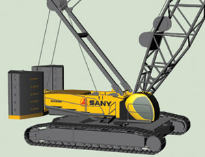 Sany's new SCC8300 crawler crane, with 300 metric tons of lifting capacity, will be on display at next year's CONEXPO in Las Vegas.
