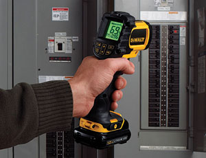 The DeWalt 12V MAX line brings a unified form factor to a range of tools, including an infrared thermometer.