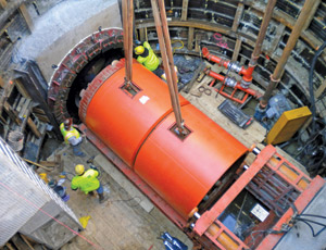 Tunnel boring machine in the Belmont North Relief Interceptor, added to the plan.