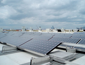 Store-top installation enables four different types of photovoltaic panels to be evaluated.