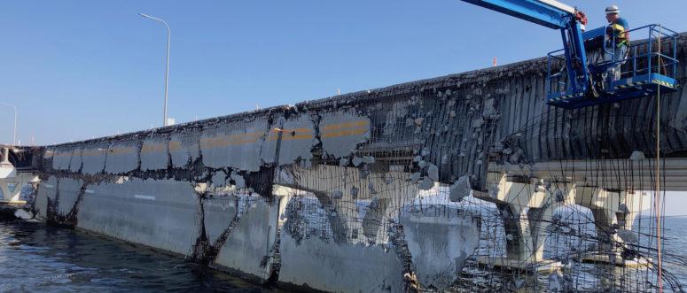 Demolition begins on damaged Pensacola bridge